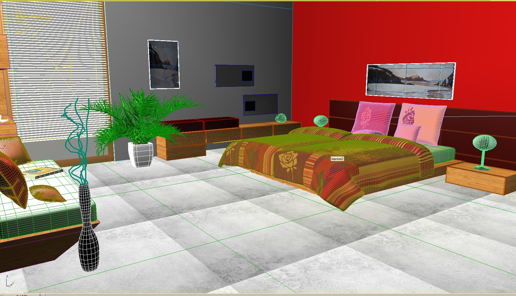 Bedroom scene 03 3D Model max 3ds