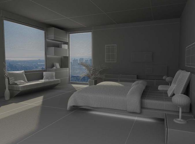 bedroom scene 03 3d model max 3ds c4d 3dm