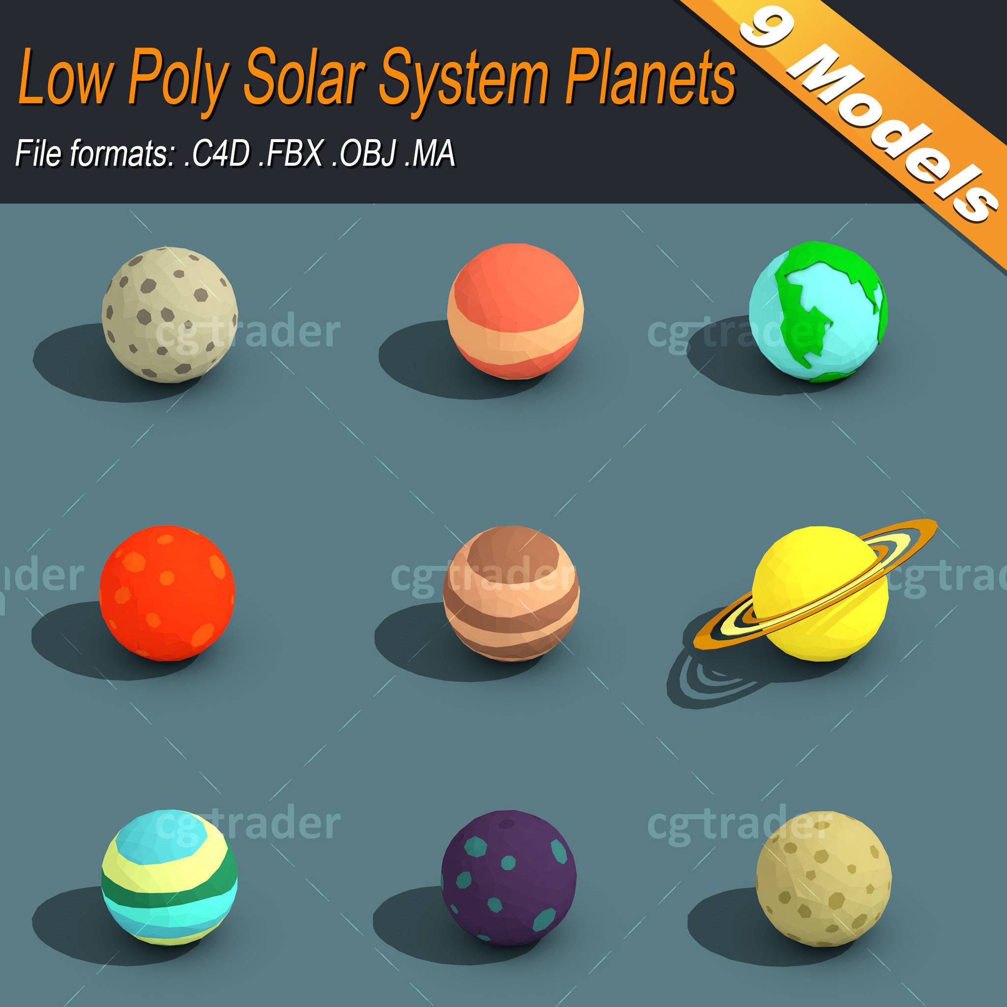 Low Poly Solar System Planets Isometric | 3D model