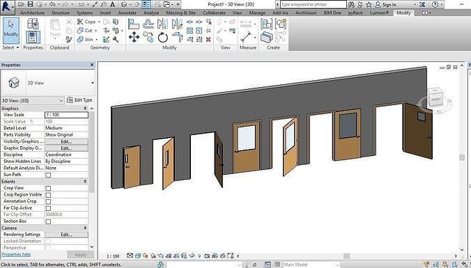 door with vision panel revit family 3d rotated  full parameter 3d model rfa rvt 1