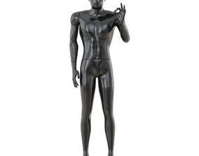 3D model Black glossy mannequin hand gesture 37