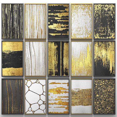 Collection of paintings with gold for walls 6