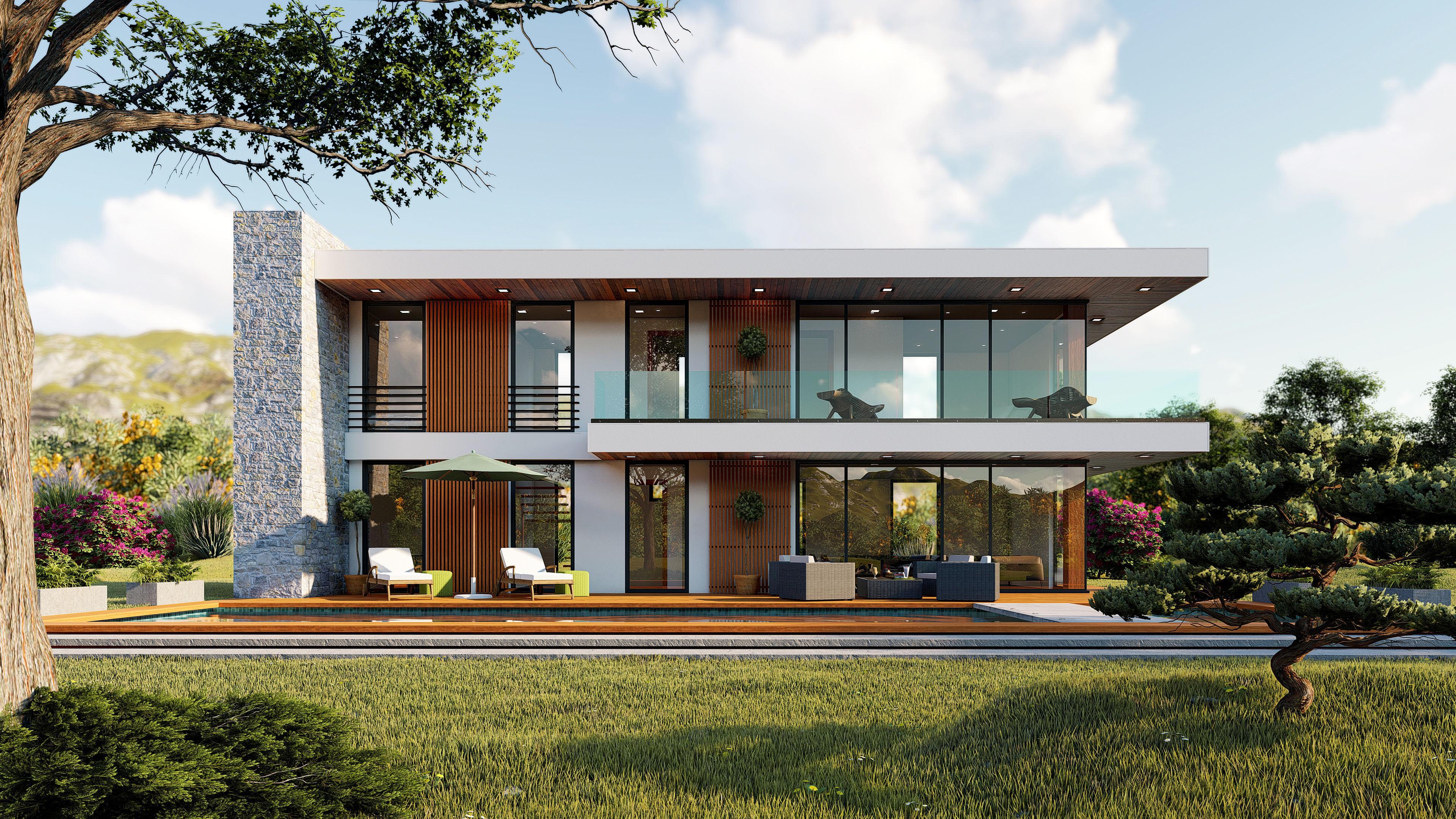 Contemporary house high quality exterior scene lumion 8 3d model skp ls8 2