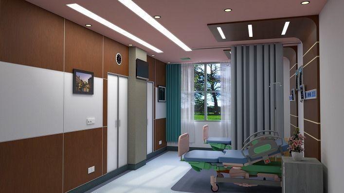 2-Bed Hospital Room Interior Scene