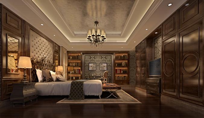 modern bed room interior 3d model max 1