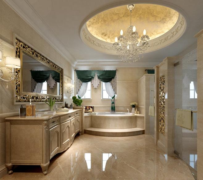 Model Luxury Home Interiors: Luxury White Bath Room Interior 3D Model .max
