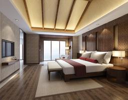 Modern hotel bed room 3D