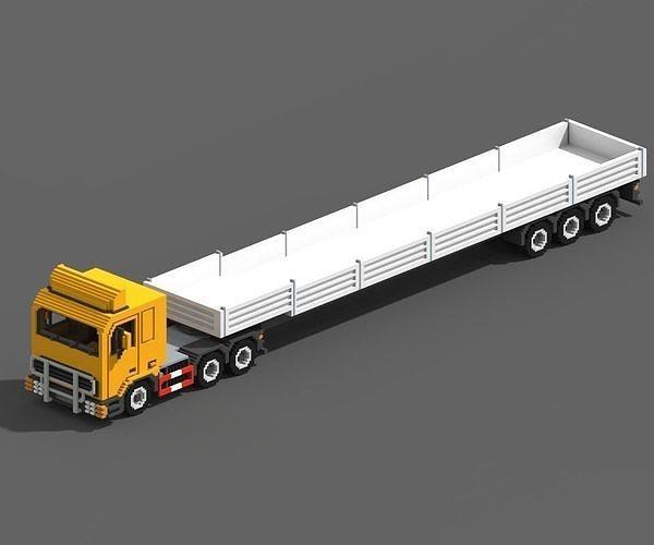 voxel truck and flatbed trailer 3d model max obj mtl fbx 1