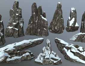 3D asset VR / AR ready snow rocks