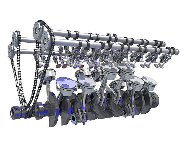V12 Engine Cylinders Animation
