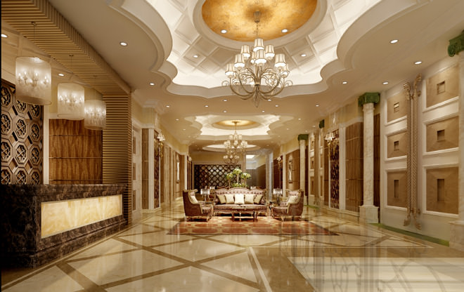 Luxury hotel hall lobby 3d model max for Decor 3d model