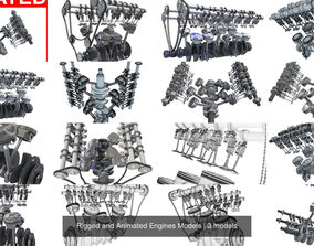 Rigged and Animated Engines Models 3D