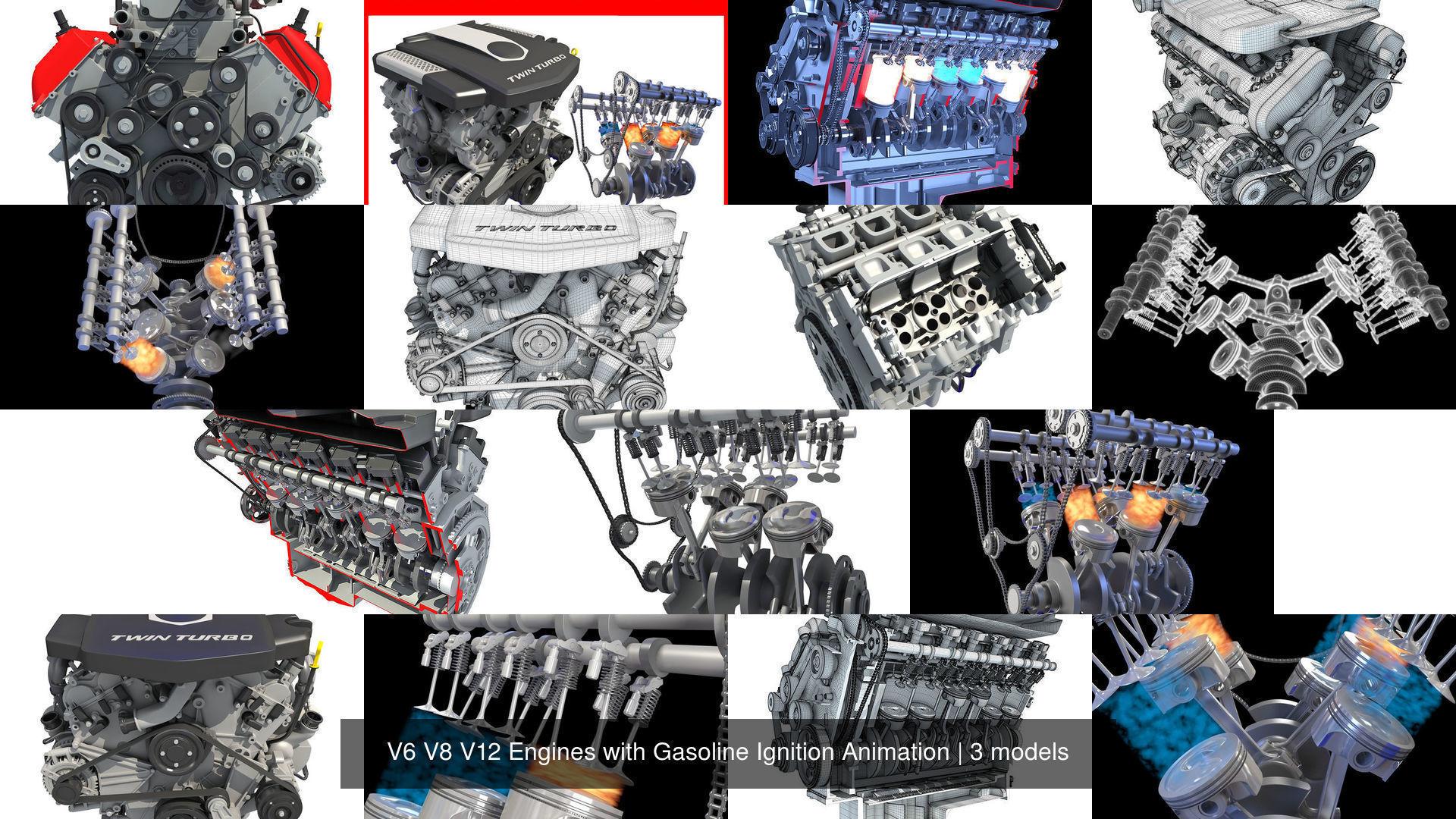 V6 V8 V12 Engines with Gasoline Ignition Animation