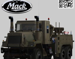 3d model mack r600 heavy utility army wrecker truck low-poly