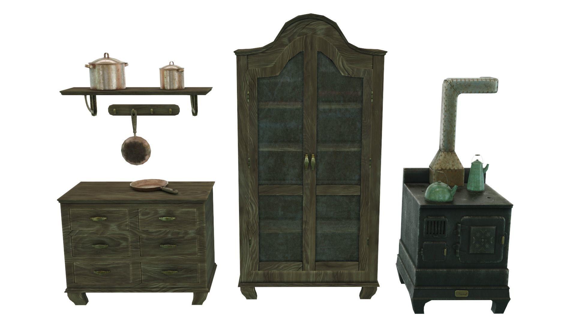 Low Poly Victorian Kitchen Set