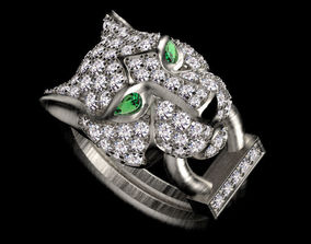 ring female panther jewelery 3D printable model