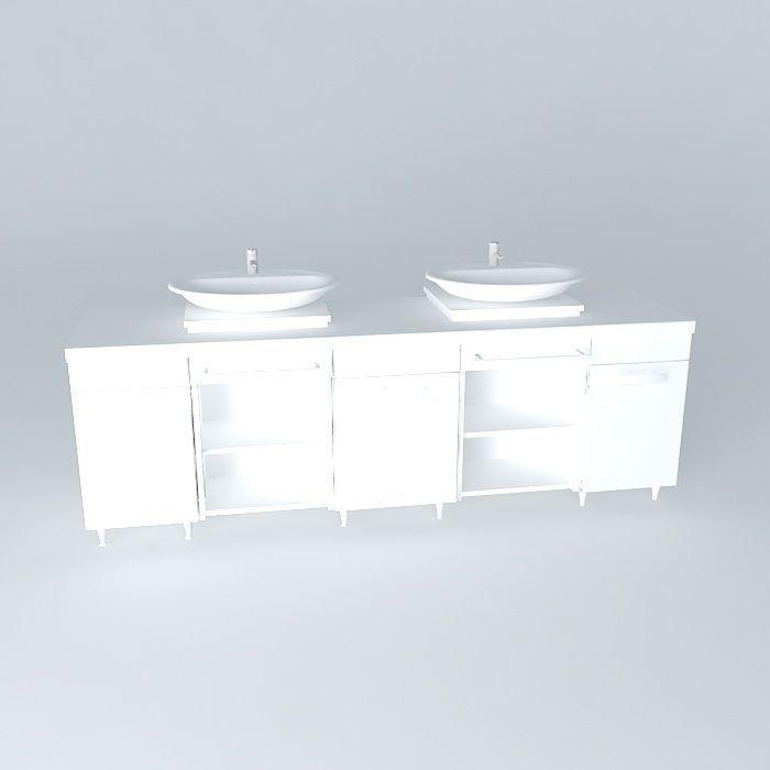 Sink cabinet free 3d model max obj 3ds fbx stl dae for Sketchup bathroom sink