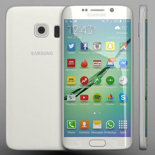 samsung galaxy s6 edge white 3d cgtrader. Black Bedroom Furniture Sets. Home Design Ideas