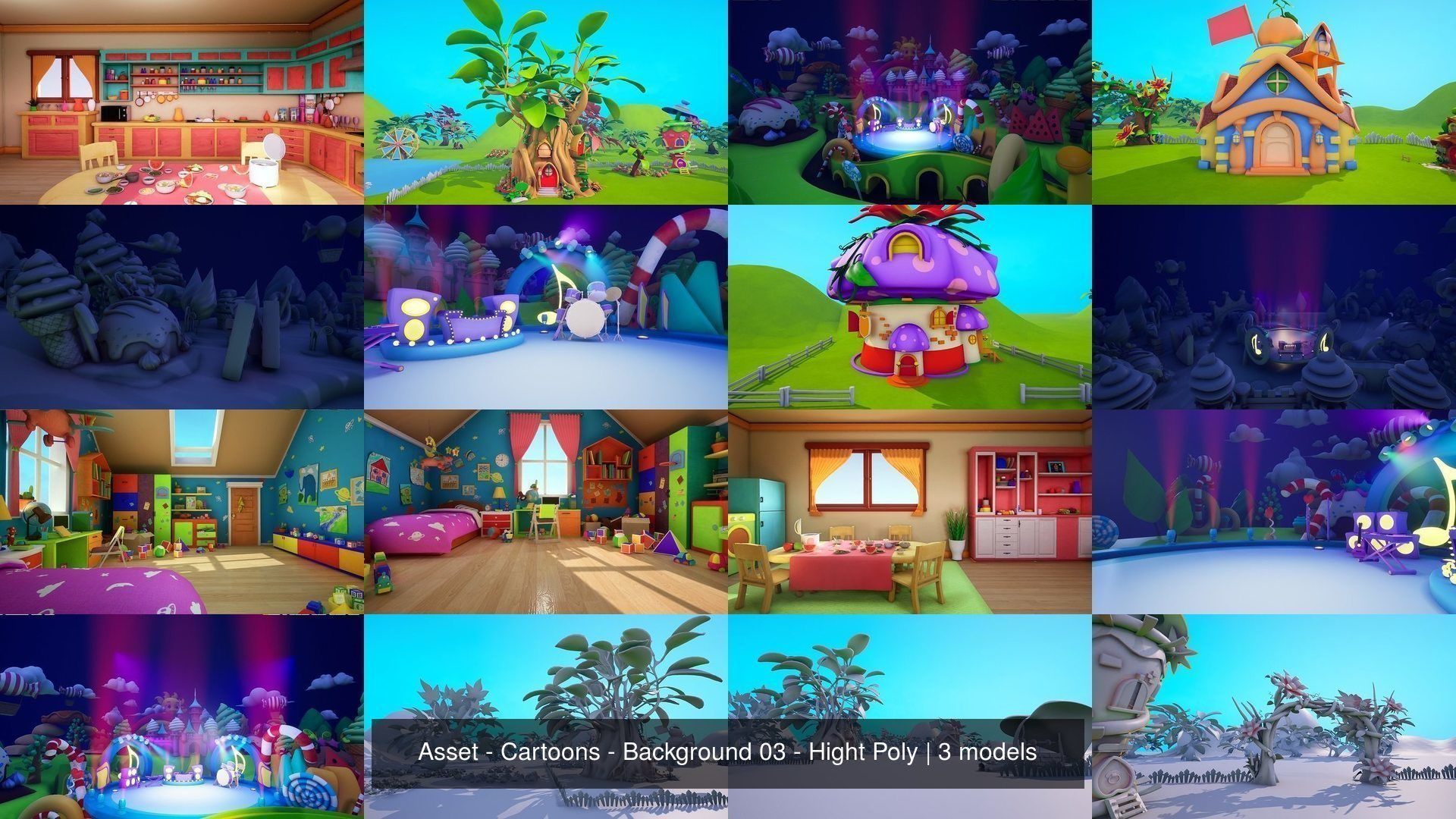 Asset - Cartoons - Background 03 - Hight Poly