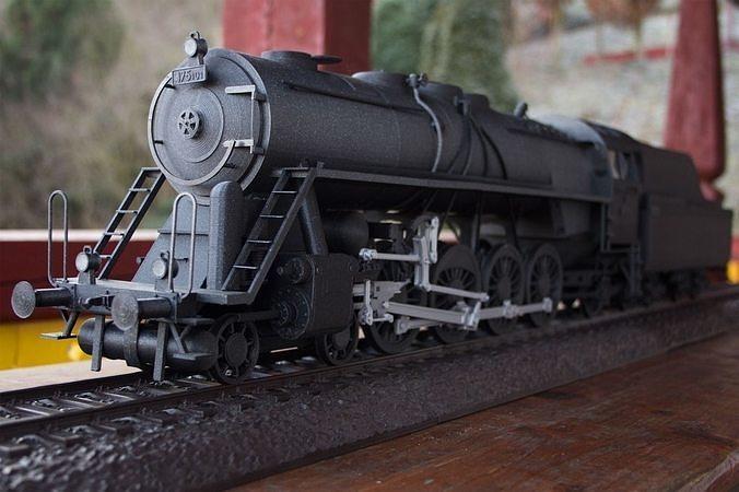 steam train noblewoman with tender 3d model obj mtl stl skp pdf 1