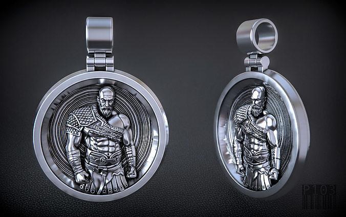 kratos pendant god of war 3d printing and cnc model 3d model obj mtl fbx stl 1