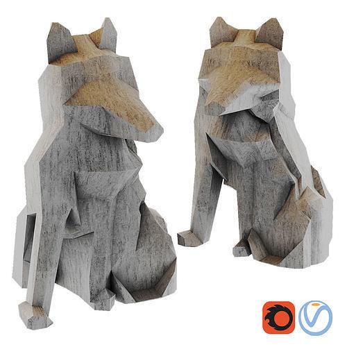 fox origami white fox stauette h26 3d model max obj mtl fbx 1