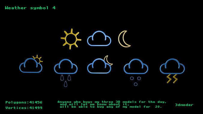 weather symbol 4 3d model low-poly obj mtl 3ds fbx stl blend x3d 1