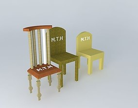 3D Wooden Chairs