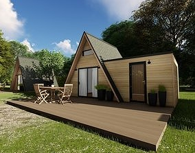 Modern mountain cabin alpine style mobile home 3D model 1