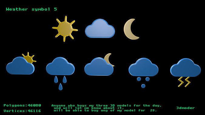 weather symbol 5 3d model obj mtl 3ds fbx stl blend x3d 1