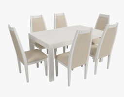 3D Modern Dining Table with Chairs