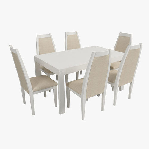 Marvelous Modern Dining Table With Chairs 3d Model Max Obj 3ds Fbx 1