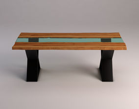 3D DINING TABLE---Live edge and glass
