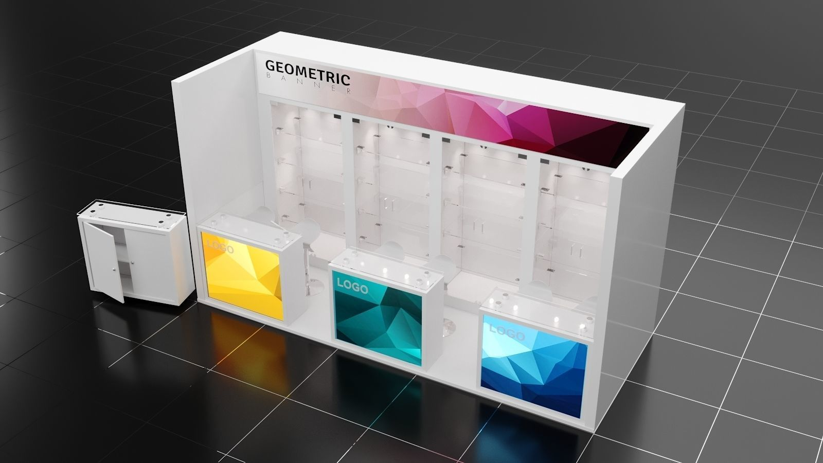 Exhibition Stall Materials : D mx m side open exhibition stall corona vray render