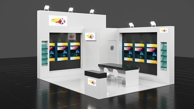 6m x 5m 2 side open exhibition stall corona vray - render ready 3d model max obj mtl 3ds fbx 1
