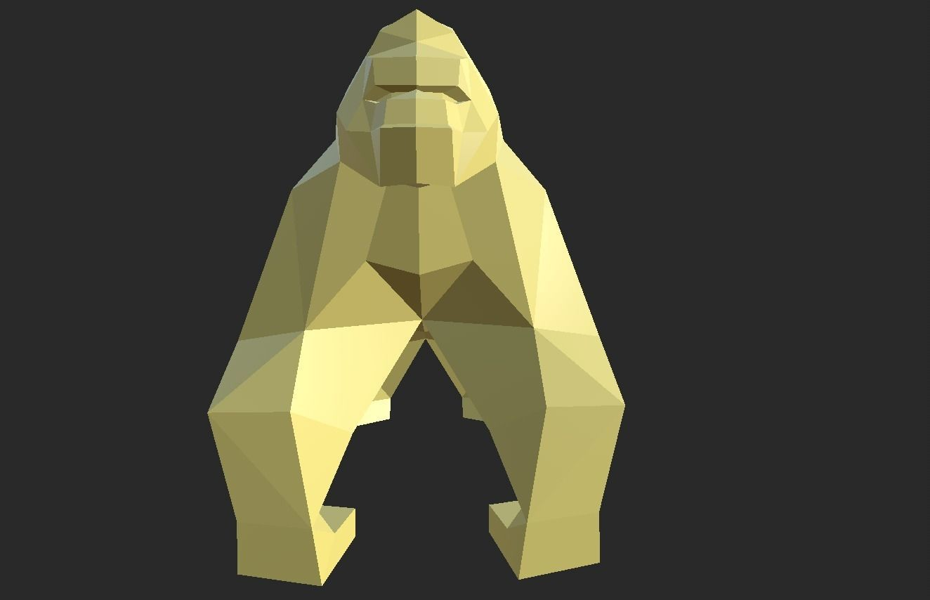 Low Poly style Gorilla ready for printing