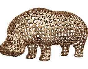 Hippopotamus Voronoi Wireframe 3D printable model