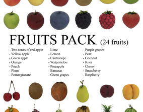 3D model Fruits Pack - 24 fruits