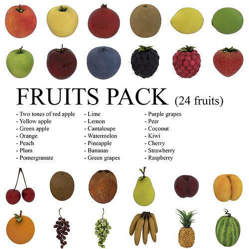 fruits pack - 24 fruits 3d model fbx ma mb 1