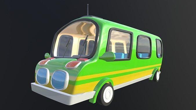 asset - cartoons - bus - 02  - 3d model 3d model 3d model max obj mtl fbx ma mb hrc xsi tga 1
