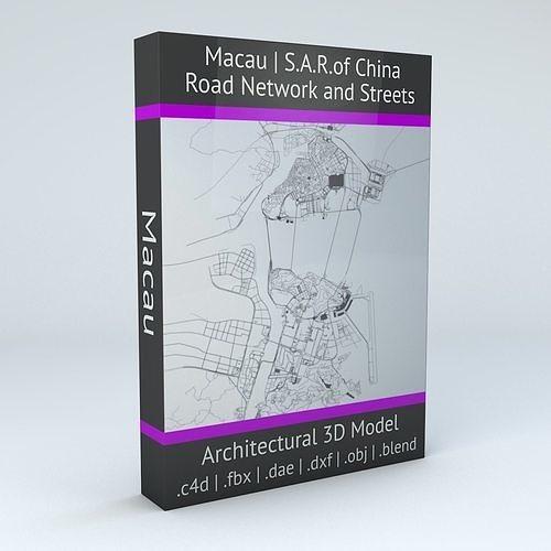 macau road network and streets 3d model obj mtl fbx c4d dxf blend dae 1