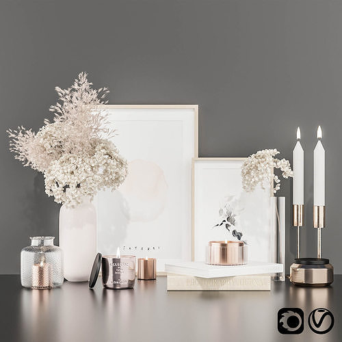 Decorative set with hydrangea and pampas grass