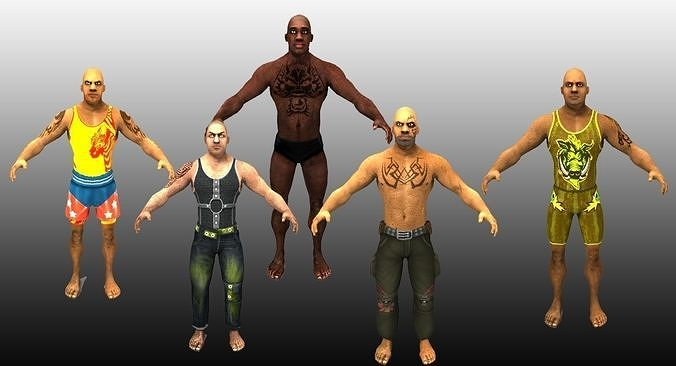 5 Wrestling Characters Pack