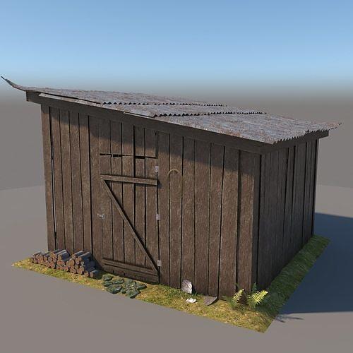 3d wooden shed 3 model 3d model max obj mtl 3ds fbx 1