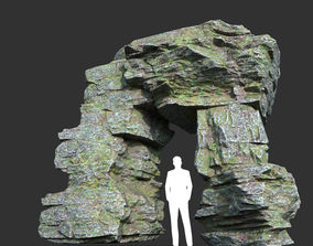 Low poly Mossy Layer Rock 09 3D asset