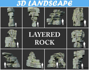 3D model Low poly Mossy Layer Rock Pack 190312