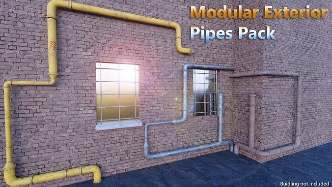 modularexteriorpipespack 3d model obj mtl fbx blend unitypackage prefab uasset 1