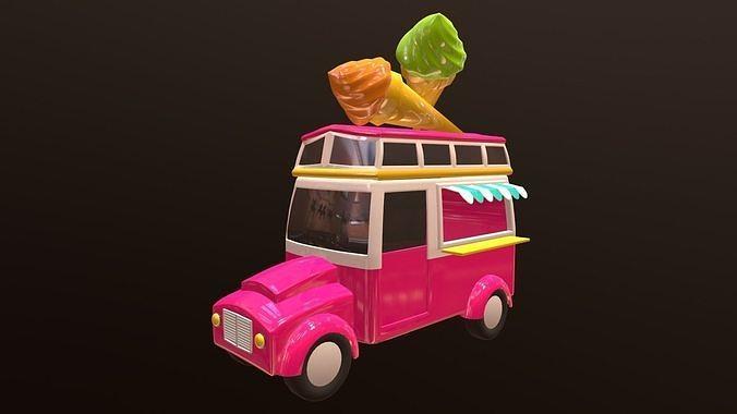 asset - cartoons - car - ice cream - 3d model  3d model max obj mtl fbx ma mb hrc xsi tga 1