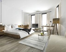minimal modern bedroom suite in hotel 3D