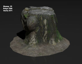 3D asset realtime Photoscanned stump 15